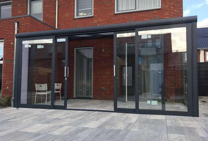 Alu Kalt Wintergarten Spezial, Schiebewand mit Rahmen, Aluminium, Anthrazit von vorne