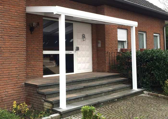 Alu Haustür Überdachung, Eingangstür Überdachung, Weis, 16mm Stegplatte, Polycarbonat