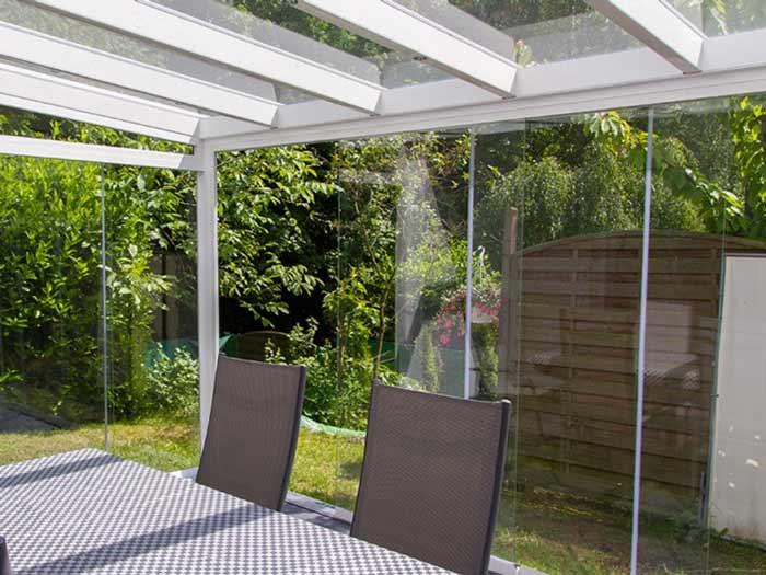 Alu Kalt Wintergarten NRW, Sommergarten mit 10mm ESG- Glas, Aluminium Weiß von Innen